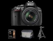 Nikon D5300 Kit AF-P 18-55mm VR (black) + card Lexar 32GB SDHC HP CLS10 UHS-I 95MB/s + geanta Nikon CF-EU11 + trepied Velbon EX-330Q