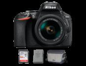 Nikon D5600 Kit AF-P 18-55mm VR + card SanDisk 64GB SDXC Ultra CLS10 80MB/s UHS-I + geanta Nikon CF-EU11 SLR System Bag + acumulator Nikon EN-EL14a