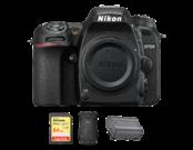 Nikon D7500 body + card SanDisk 64GB SDXC Extreme 90MB/s V30 UHS-I U3 + rucsac Lowepro Flipside 200 AW II + acumulator Nikon EN-EL15a