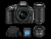 D5300 Kit AF-P 18-55mm VR + 35mm f/1.8G AF-S DX NIKKOR + 70-300mm f/4.5-6.3G ED AF-P DX NIKKOR + card Lexar 32GB SDHC CLS 10 UHS-I 45MB/s + geanta Lowepro Nova 160 AW