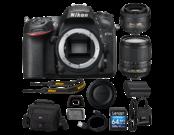 D7200 body + 35mm f/1.8G AF-S DX NIKKOR + 18-105mm f/3.5-5.6G ED VR AF-S DX NIKKOR + card 64GB SDXC CLS 10 UHS-I 45MB/s + geanta Lowepro Nova 160 AW