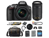 D5300 Kit AF-P 18-55mm VR (black) + 70-300mm f/4.5-6.3G ED AF-P DX NIKKOR + card Lexar 32GB SDHC CLS 10 UHS-I 45MB/s + geanta Lowepro Adventura SH 160 II