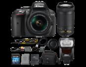 D5300 Kit AF-P 18-55mm VR (black) + 70-300mm f/4.5-6.3G ED AF-P DX NIKKOR + Nikon SB-700 + card Lexar 64GB SDXC CLS 10 UHS-I 45MB/s + geanta Lowepro Nova 160 AW
