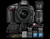 D5300 Kit AF-P 18-55mm VR (black) + 35mm f/1.8G AF-S DX NIKKOR + 55-300mm f/4.5-5.6G AF-S DX VR NIKKOR + 2 x Lexar 32GB SDHC CLS 10 UHS-I 45MB/s + geanta Lowepro Nova 160 AW