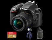D3300 Kit AF-P 18-55mm VR (black) + card Lexar 16GB mSDHC Extreme U3 CLS10 90MB/s + adaptor SD + geanta Lowepro StreamLine Sling + lanterna JOBY Gorillatorch Original