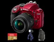 D3300 Kit AF-P 18-55mm VR (red) + card Lexar 16GB mSDHC Extreme U3 CLS10 90MB/s + adaptor SD + geanta Lowepro StreamLine Sling + lanterna JOBY Gorillatorch Original
