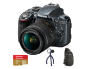 D3300 Kit AF-P 18-55mm VR (grey) + card Lexar 16GB mSDHC Extreme U3 CLS10 90MB/s + adaptor SD + geanta Lowepro StreamLine Sling + lanterna JOBY Gorillatorch Original