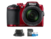 Nikon COOLPIX B500 (red) + card Lexar MicroSDHC 16GB CLS10 UHS-I 45MB/s + adaptor SD + geanta Nikon CS-P08