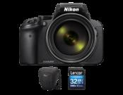 Nikon COOLPIX P900 + card Lexar 32GB SDHC CLS 10 UHS-I 45MB/s + geanta Lowepro Toploader Zoom 50 AW II