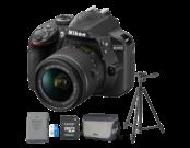 Nikon D3400 Kit AF-P 18-55mm VR (black) + acumulator Nikon EN-EL14a + card Lexar 32GB 45MB/s + geanta Nikon CF-EU11 + trepied Velbon EX-330Q