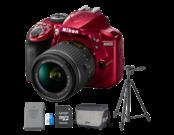 Nikon D3400 Kit AF-P 18-55mm VR (red) + acumulator Nikon EN-EL14a + card Lexar 32GB 45MB/s + geanta Nikon CF-EU11 + trepied Velbon EX-330Q