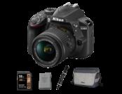 Nikon D3400 Kit AF-P 18-55mm VR (black) + acumulator Nikon EN-EL14a + card Lexar 32GB SDHC HP CLS10 UHS-I 95MB/s + geanta Nikon CF-EU11 + pensula Lenspen Original