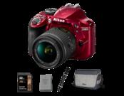 Nikon D3400 Kit AF-P 18-55mm VR (red) + acumulator Nikon EN-EL14a + card Lexar 32GB SDHC HP CLS10 UHS-I 95MB/s + geanta Nikon CF-EU11 + pensula Lenspen Original