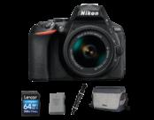 Nikon D5600 Kit AF-P 18-55mm VR (black) + acumulator Nikon EN-EL14a + card Lexar 64GB SDXC CLS 10 UHS-I 45MB/s + geanta Nikon CF-EU11 + pensula Lenspen Original