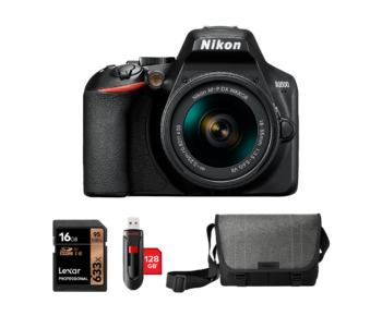 Nikon D3500 kit AF-P 18-55mm VR + card 16GB + stick 128GB + geanta Nikon