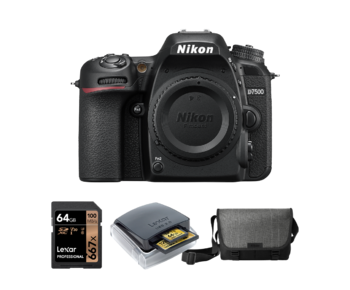 Nikon D7500 body + card 64GB + card reader + geanta Nikon