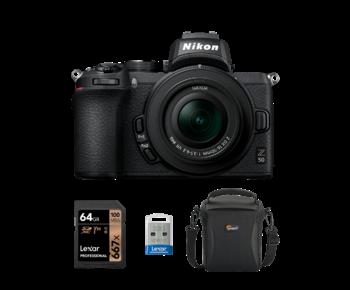 Nikon Z50 kit 16-50mm VR + card 64GB + stick 32GB + geanta Lowepro
