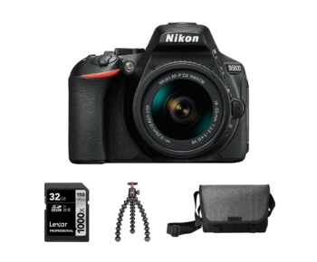 D5600 Kit AF-P 18-55mm VR (black )+ Card 32GB+ Geanta + Trepied Joby 3K