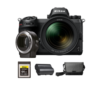 Nikon Z6 kit 24-70mm f/4 S + FTZ + card 64GB XQD + acumulator EN-EL15b + geanta Nikon