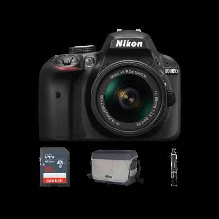 Nikon D3400 Kit AF-P 18-55mm VR (black) + card 16GB + geanta Nikon + Lenspen