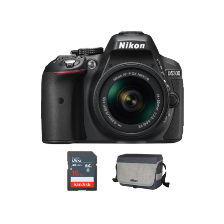 Nikon D5300 Kit AF-P 18-55mm VR + card 16GB + geanta Nikon