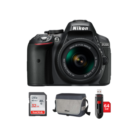 Nikon D5300 Kit AF-P 18-55mm VR  + card 32GB + geanta + stick USB 64GB
