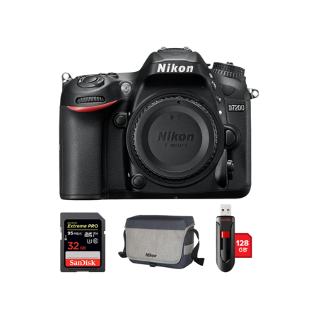 Nikon D7200 body + card SanDisk 32GB + geanta + stick USB 128GB