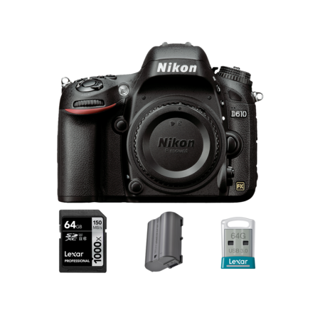 Nikon D610 body + card 64GB + acumulator + stick USB 64GB