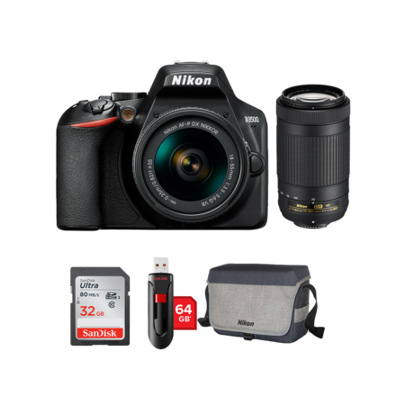 Nikon D3500 kit AF-P 18-55mm VR + 70-300mm VR + card 32GB + stick 64GB + geanta Nikon