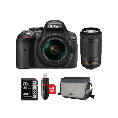 Nikon D5300 kit AF-P 18-55mm VR + 70-300mm VR + card 32GB + stick 64GB + geanta Nikon