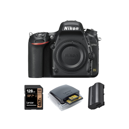 Nikon D750 body + card 128GB + card reader + acumulator Nikon