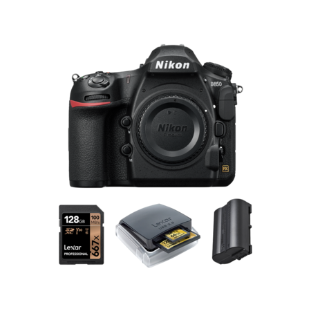 Nikon D850 body + card 128GB + card reader + acumulator Nikon