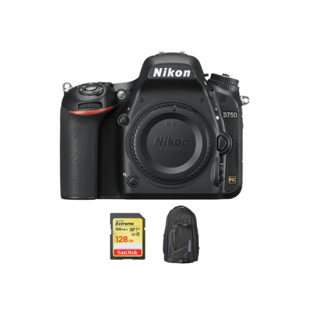 Nikon D750 body + card 128GB SDXC + rucsac Nikon