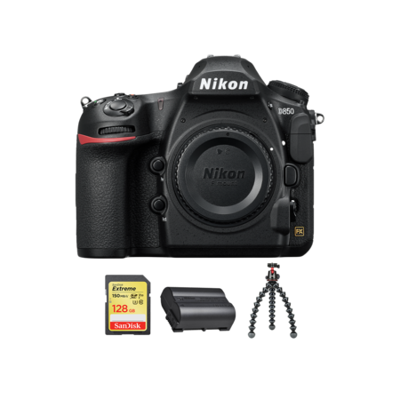 Nikon D850 body + card 128GB SDXC + acumulator EN-EL15b + trepied JOBY