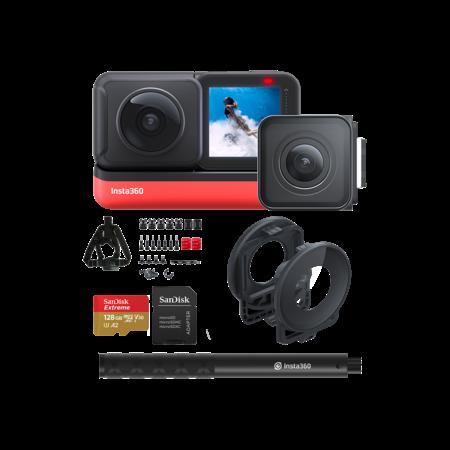 Insta360 ONE R Twin Edition + card 128GB mSDXC + Selfie Stick + Bike Bundle + Lens Guards