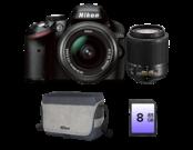 Nikon D3200 Dual Zoom Kit (18-55 EDII+55-200 NON VR)+geanta+card 8GB