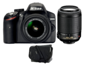 Nikon D3200 Dual Zoom Kit (18-55VRII+55-200VR) (black) + geanta