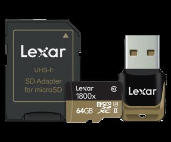 64GB mSDHC/XC UHS-II 1800x reader&adaptor CLS10 U3