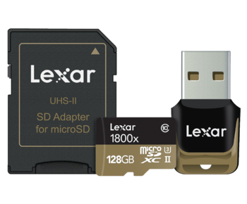 128GB mSDHC/XC UHS-II 1800x reader&adaptor CLS10 U3