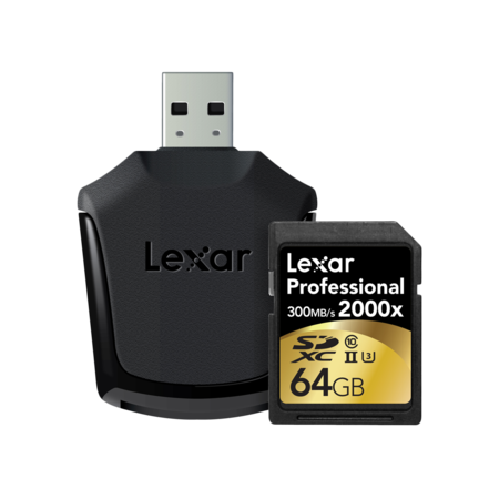 Lexar 64GB SDXC CLS10 UHS-II 300MB/s citire, 260MB/s scriere + reader