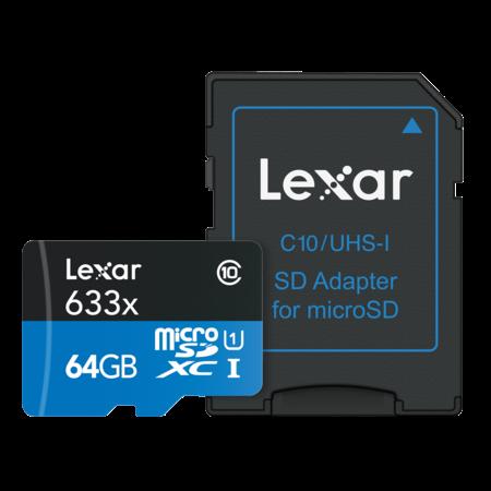 Lexar 64GB mSDXC HP CLS10 UHS-I 95MB/s+ Adaptor SD
