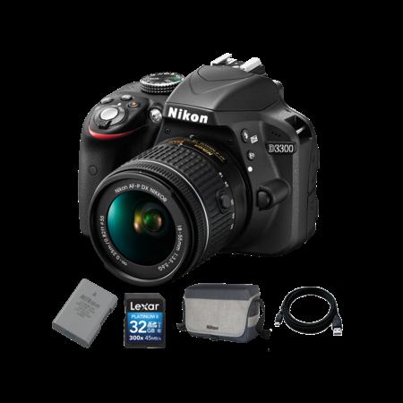 Nikon D3300 Kit AF-P 18-55mm + EN-EL14 + Card 32GB + Geanta + Cablu USB