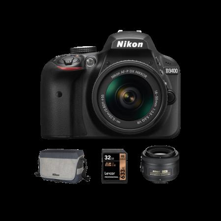 Nikon D3400 kit AF-P 18-55mm VR + 35mm f/1.8G + Card 32GB + Geanta CF-EU11