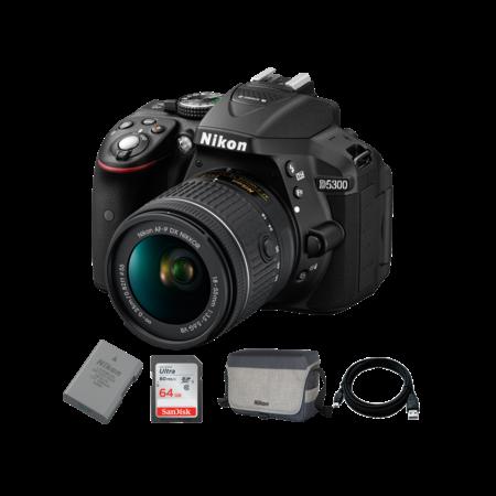 Nikon D5300 kit AF-P 18-55mm VR + EN-EL14 + Card 64GB + Geanta + Cablu USB