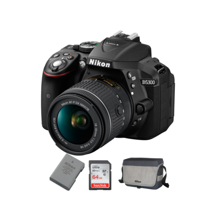 Nikon D5300 kit AF-P 18-55mm VR + EN-EL14a + Card 64GB + Geanta