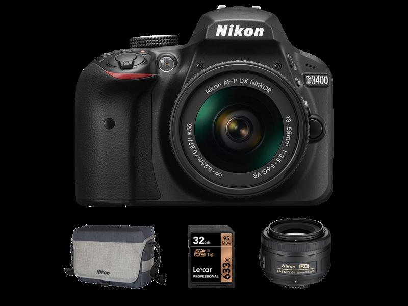 D3400 kit AF-P 18-55mm VR + 35mm f/1.8G + Card 32GB + Geanta CF-EU11
